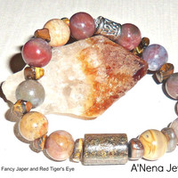 "Men's Bracelet Bronzite, Fancy Jasper and Red Tiger's Eye Silverplated Copper ""Successful"""