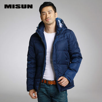 MISUN removable cap patchwork print design short winter coat men twill M-XXL dark blue wide-waisted 70% white duck down parkas