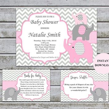 Girl Baby Shower Invitation set | Book Insert & Diaper Raffle Insert | Baby Shower Games | Elephant Baby Shower Invitation Download (50-1A)