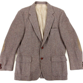 Vintage Farah Tweed Jacket - Blazer Sport Coat Tan Wool Beige Ivy League Menswear - Men's Size 42 Long Large Lrg L