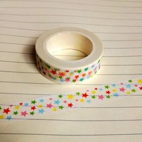 1X DIY Japanese Paper Washi Tape Paper Colorful Stars Masking Tapes Adhesive Tapes Stickers Decorative Stationery Tape 1.5cm*10m