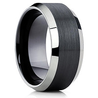10mm - Black Tungsten Ring - Tungsten Wedding Band - Men's Black Ring