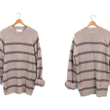 Fall Knit Sweater 70s Wool Sweater Light Brown Striped Boyfriend Sweater Crewneck Nerd Raglan Sweater 80s Knit Preppy Jumper Mens Medium