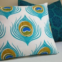 Turquoise Blue Peacock Feather linen pillow case by giardino