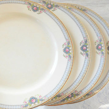 Carrollton Cottage Style Dinner Plates, Set of 4, Vintage, Tea Parties, Wedding, CLT7, Rare, Replacement China