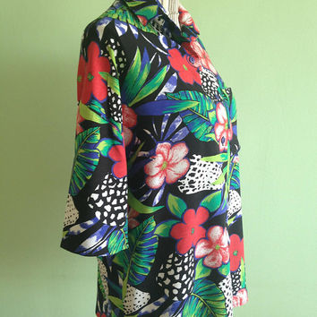 Vintage 80s Hawaiian Shirt, Ladies Resort Wear, Button Down Shirt, Bright Colorful Floral Blouse, Tropical Shirt in Red Blue Green, Size L