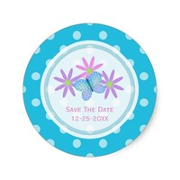 Blue Butterfly and Daisy Save The Date Stickers