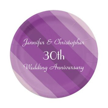 Purple Striped Plates, 30th Wedding Anniversary Paper Plate