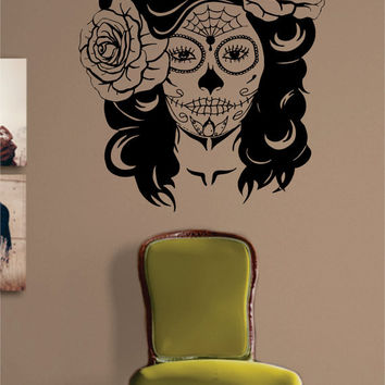Day of the Dead Girl Skull Mask Art Decal Sticker Wall Vinyl