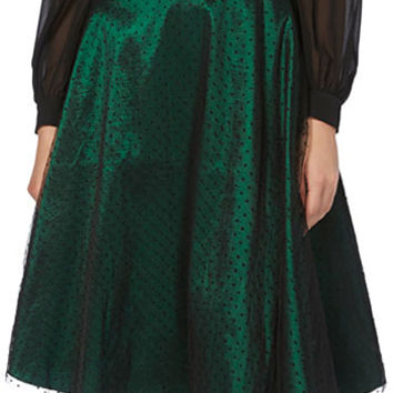Emerald & Onyx Pindot Lace Flared Skirt