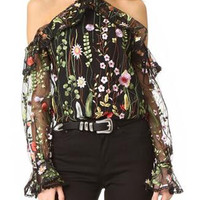 Black Halter Cold Shoulder Embroidery Floral Sheer Mesh Blouse