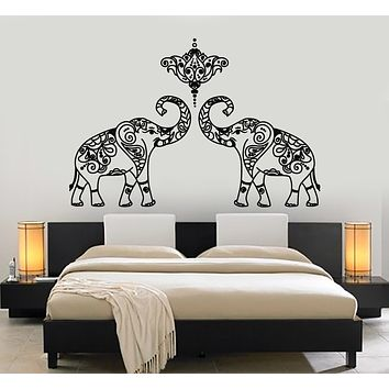 Vinyl Wall Decal Lotus Indian Elephants Hinduism Animals Yoga Center Stickers Mural (g1168)