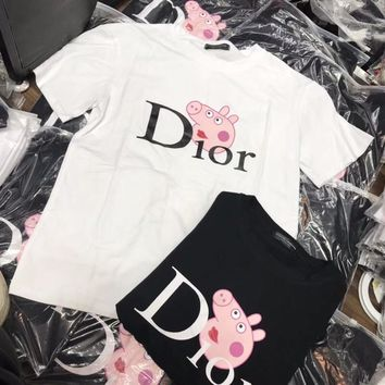 """Dior x Peppa Pig"" Women Casual Fashion Cute Letter Cartoon Pattern Print Short Sleeve T-shirt Top Tee"