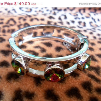 Rare Vintage Watermelon Rhinestone Bracelet Whiting & Davis Green Blue Pink Rivoli 1950's 1960's Collectible Jewelry Mad Men Mod Rockabilly