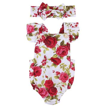 Summer Brand Rompers Newborn Baby Girls Clothing Toddler Girls Clothes Retro Printing Sunsuit With Handwear 0-24M