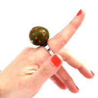 Fall Perfect Palette Cocktail Ring Ceramic -  big bold handmade statement adjustable ring - 1 inch - POLKA DOT