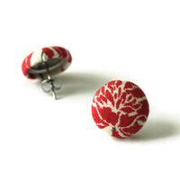 Red Rose Earring, Rose Earings, Button Earings, Button Jewellery, Surgical Stainless Steel Posts, Hypoallergenic, Sensitive Ears, Earrings