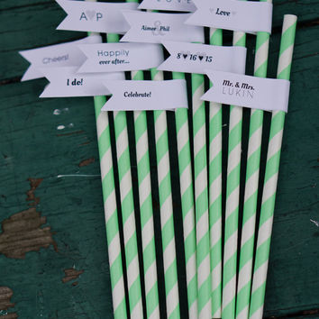 50 Wedding Paper Straws with Custom Flags / Personalized Straws / Wedding Straws / Party Straws / Custom Straws / Custom Drink Straws