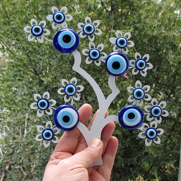 Evil eye wall decor, Tree wall hanging, Laser cutting art, Metal tree decor, Glass evil eye, Blue evil eye, Evil eye art, Evil eye ornament