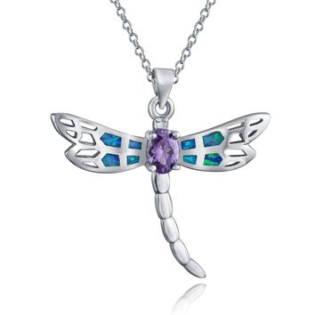 Butterfly Dragonfly Created Opal Pendant Purple CZ Sterling Silver