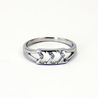 Sigma Sigma Sigma Sterling Silver Ring, set with Lab-Created Diamonds
