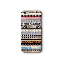 Iphone 6/6s Case, Tiger Aztec Geometric on Wood Pattern 3d-sublimated, Mobile Accessories.