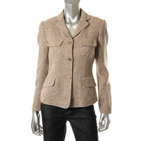Calvin Klein Womens Linen Blend Long Sleeves Three-Button Blazer