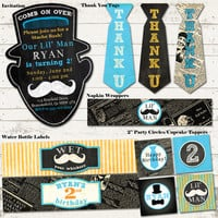 Mustache Bash Birthday Party Pack - Vintage Inspired - Blackboard, Newsprint - Custom, Printable - Chalkboard, Mustache - PREMIUM PACK