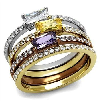 WildKlass Stainless Steel Ring Three Tone IP(IP Gold & IP Light Coffee & High Polished Women AAA Grade CZ Multi Color