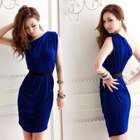 HOT Women Sexy Elegant Mini Dress Pleated Asymmetric One Shoulder Cocktail Party