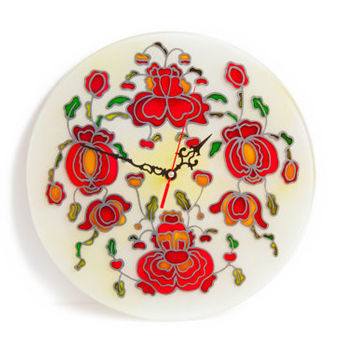 "12""  Red flowers -round glass wall decor &  flowers decor-  red unique wall clock -country  decor-glass painting"