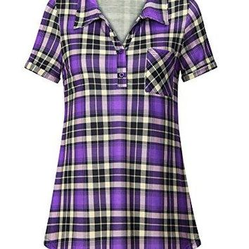 Messic Womens Casual Short Sleeve Collared Knit Button Down Plaid Shirt