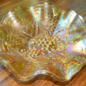 Vintage Marigold Imperial Glass Company Carnival Glass Bowl with Ruffled Rim - Imperial Grape