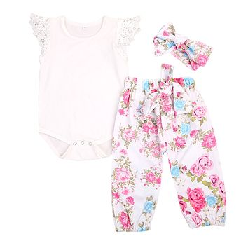 US Stock Floral Newborn Baby Girls Lace Romper Pants Headband Outfit Set Clothes Infant Toddler Girl Brief Clothing Set Playsuit