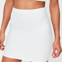 Missguided - Petite White Bandage Ribbed Mini Skirt