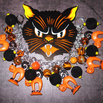 Halloween Cat Jewelry Charm Bracelet OOAK Handmade Eclectic Vintage Folk Art Style Retro Prim Kitsch Orange Black Holiday Statement Piece