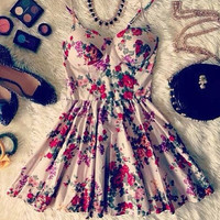 Floral Pleated A-Line Mini Dress