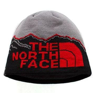 DCCKIJG The North Face Winter Thicken Polar Fleece Thermal Beanie Hat (Gray-Black, One Size)