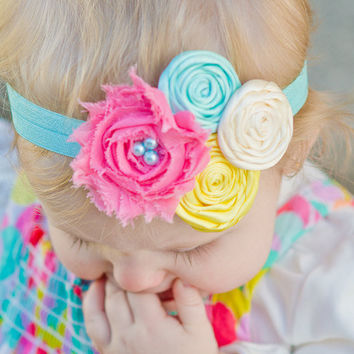 Baby Headband... Baby Girls Headband - Newborn Headband - Infant Headband - Rose Headband - Headband