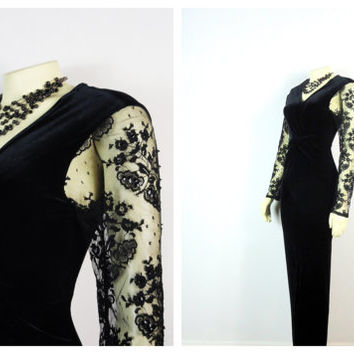 Vintage Dress 90s Jessica Howard Shimmering Stretch Velvet Dress Beaded Lace Sleeves Size 8 Modern Medium