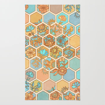 Golden Honeycomb Tangle - hexagon doodle in peach, blue, mint & cream Rug by Micklyn