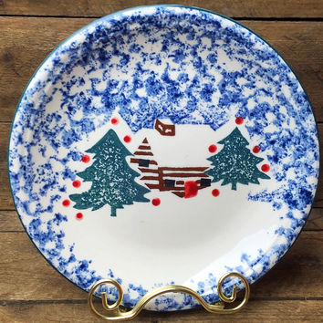 Cabin in the Snow Salad Plate Folk Craft by Tienshan