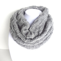 Gray Scarf, Knitted Scarf, Checkered Scarf, Grey Knit Scarf, Valentine's Gift, Knit Infinity Scarf, Handknit Cowl