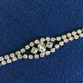 Rhinestone Bracelet in Silver Tone, Christmas Sparkle on Your Wrist, Double Strand Rhinestone Bracelet, Elegant Vintage Semi Formal Bracelet