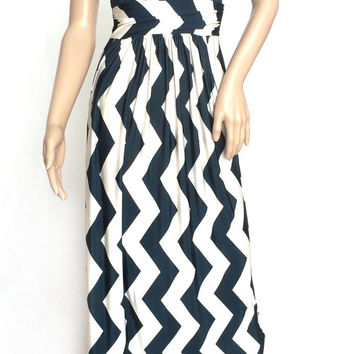 Womens Maxi Dress Hunter Green & Off-White Chevron Print With Pockets Sleeveless Dress Long Length Small, Medium, Large