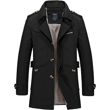 Mens Classic Black Mid Length Trench Coat