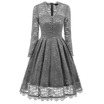 Pure Color Long Sleeves V-neck Knee-length Lace Party Dress