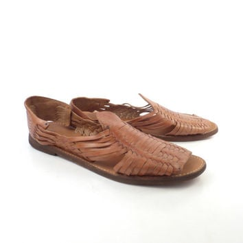 Leather Woven Sandals Vintage 1980s Brown Camel Huaraches Men's