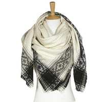 Women's Ivory Aztec Print on Edge Blanket Scarf