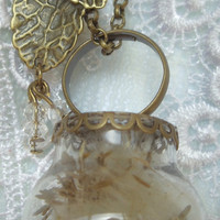 Dandelion seed glass orb ring and necklace, with hand-blown glass hollow beads, Swarovski crystal and bronze accents